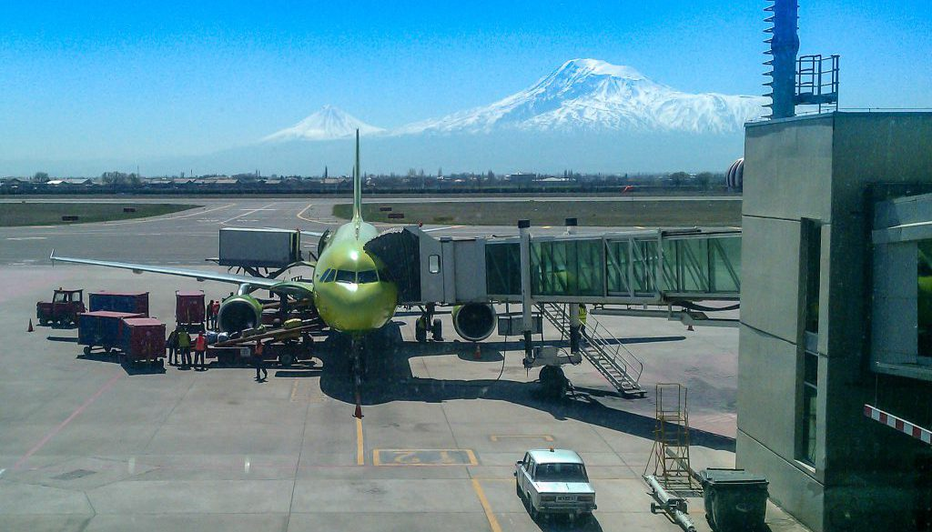 Yerevan Zvartnots International Airport, Armenia, with Mount Ararat in the background
